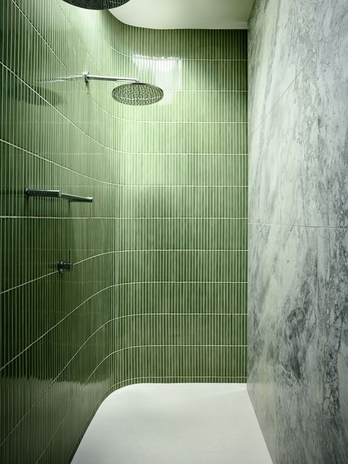 shower tiles and marble | bathroom design | Doherty Design Studio: Ivanhoe residence, Melbourne, Australia