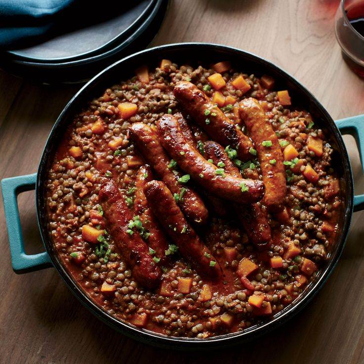 Chef Mourad Lahlou's Morrocan-spiced lentil recipe is hearty and satisfying. The merguez sausage is cooked separately, satisfying vegetarians and meat-lovers alike. Get the recipe on Food & Wine.