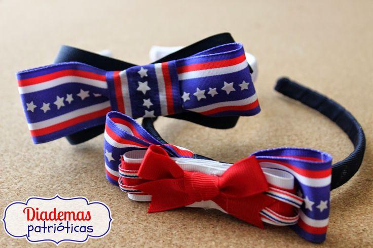 Fourth of July headbands ~Hazlo tú misma: Diademas Patrióticas con listones  / Patriotic Headbands