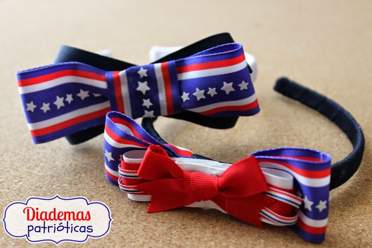 Fourth of July headbands ~Hazlo tú misma: Diademas Patrióticas con listones  / Patriotic Headbands