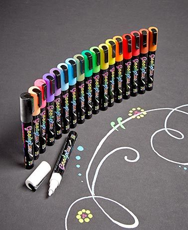 "The Liquid Chalk Markers or Chalkboard Labels let you write and draw over and over again. 18-Pc. Liquid Chalk Markers (5-3/4""L, each) work on any non-porous sur"