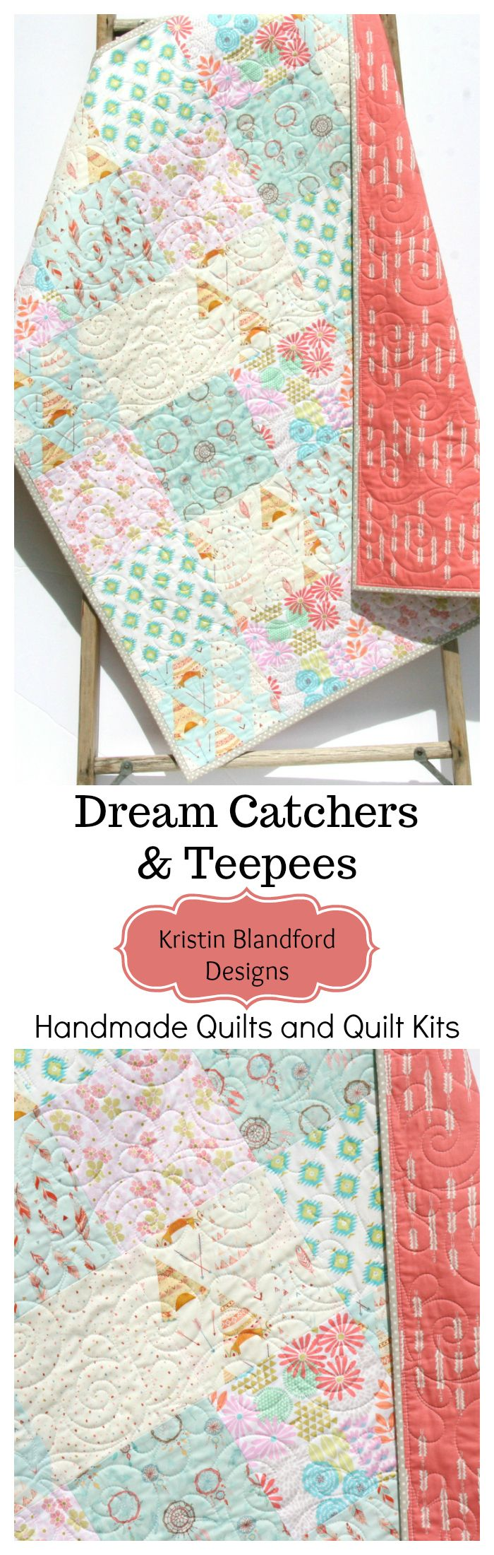 Dream Catchers Handmade Quilt, Girl Teepee Bedding, Baby Quilt for Sale, Toddler Bed Quilt for Sale, Baby Quilt Kit, Throw Quilt Kit, Twin Quilt Kit, Simple Patchwork Pattern, DIY Sewing Project for Beginners, Coral Mint Blue Girl Nursery, Aztec Theme, Popular Baby Girl Nursery Bedding by Kristin Blandford Designs #AztecBedding #BohoNursery #babybedding #CribBlanket