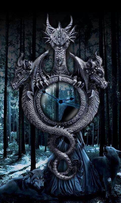 3 Headed Dragon Clock