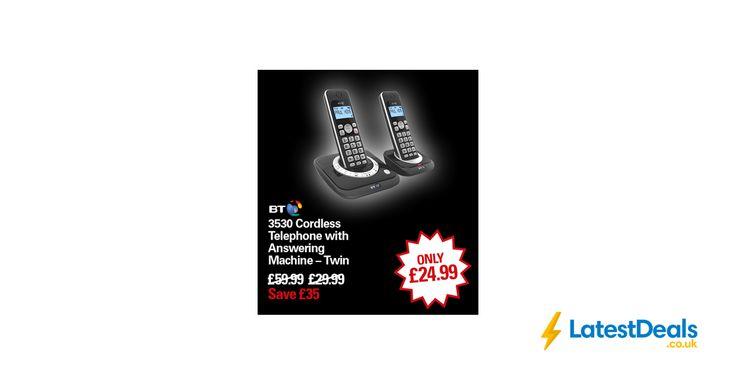 BT 3530 Cordless Telephone with Answering Machine – Twin, £24.99 at Robert Dyas