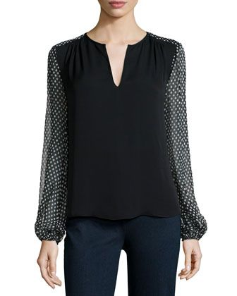 Dotted Batik Silk Top, Black by Diane von Furstenberg at Neiman Marcus.