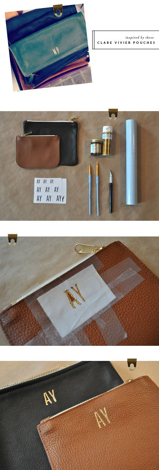 DIY leather pouch with gold stamping alphabet