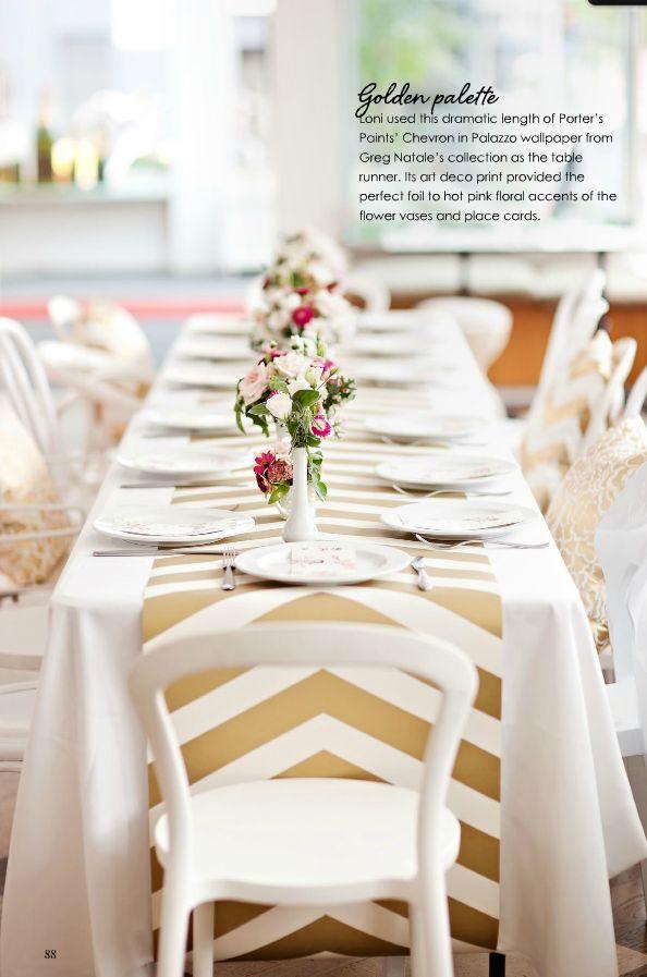 Chrevron gold Wallpaper table runner - {Adore Home Magazine} #gold #newyears #decor