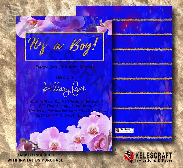 Navy Baby Shower Invite Flora gold Stripe It's A Boy Printable Baby Shower Invite Ready Made Printed Baby Shower Invitation Golden Flora by KelesCraft on Etsy