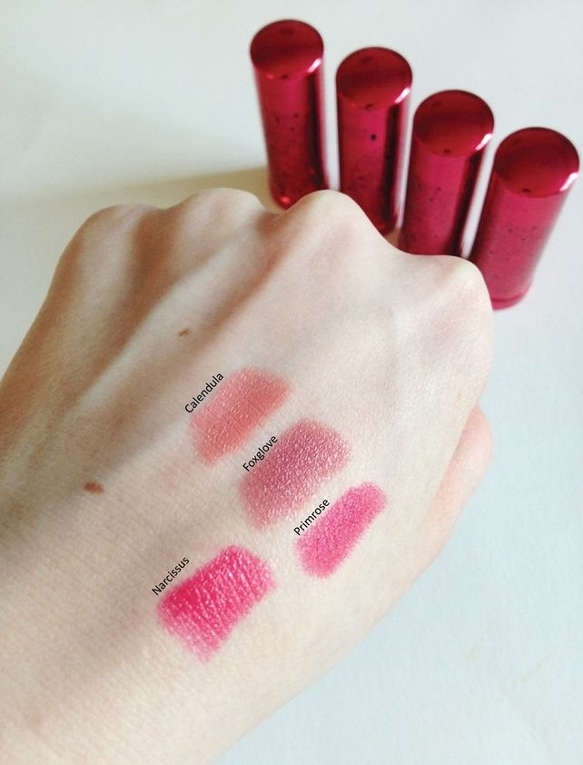 100 Percent Pure New Pomegranate Lipsticks review + swatches 3