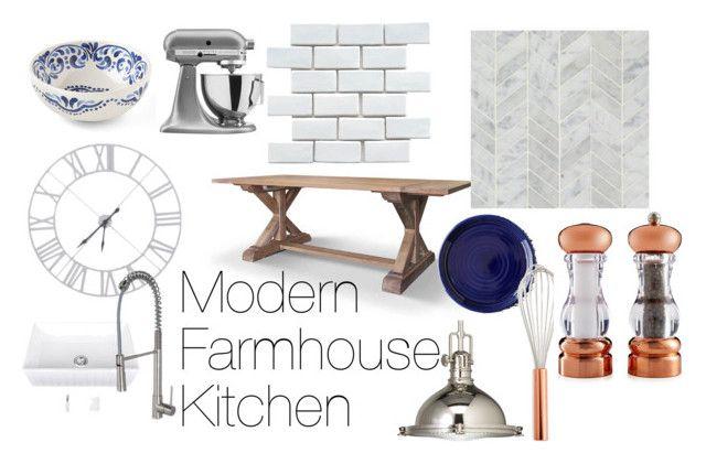 Modern Farmhouse Kitchen by britney-lynn on Polyvore featuring interior, interiors, interior design, home, home decor, interior decorating, Kichler, KitchenAid, Martha Stewart and Juliska