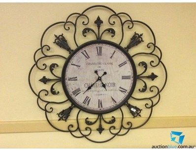 Large French Provincial Style Wrought Iron Farmhouse Clock 1.2 m diameter.