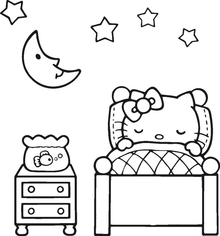 Emo Hello Kitty Coloring Pages : Lovely sleeping hello kitty coloring page cute pages of