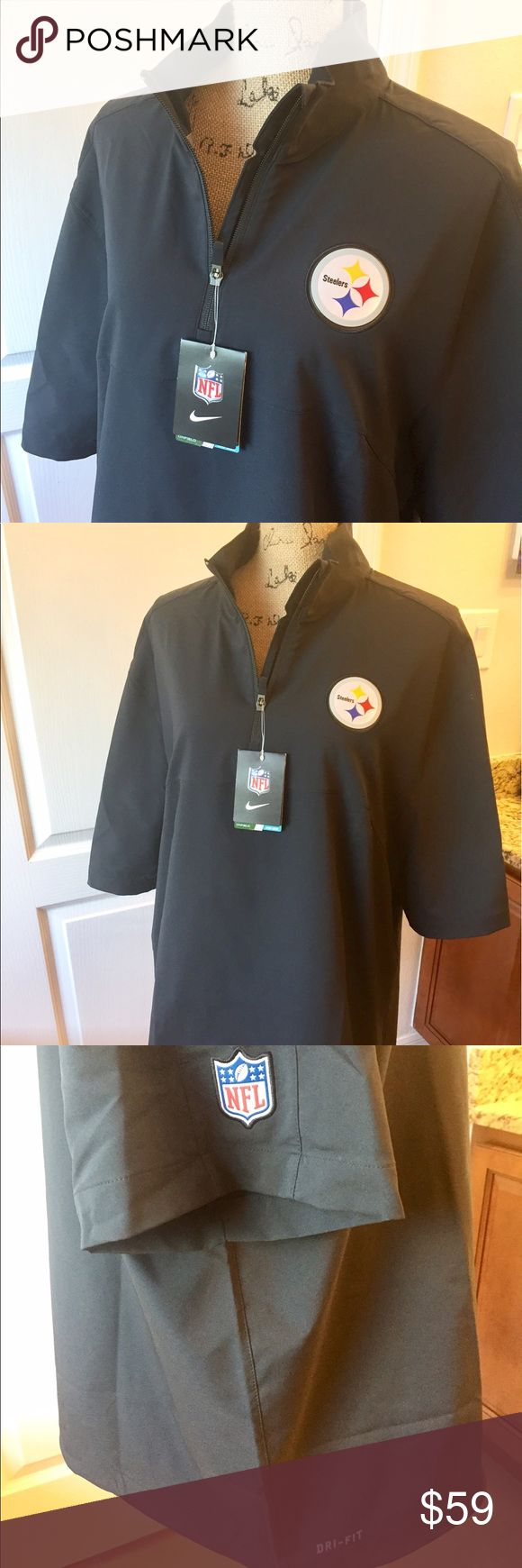 NWT - Nike NFL Steelers Zip Black Men's Size Large NWT - Nike NFL Pittsburgh Steelers Hot Jacket Qt. Zip Black Men's Size Large. Get ready for the season with this Steelers Elite Coaches Alt Dri-FIT half-zip jacket from Nike! The festive Steelers graphics and colors will let everyone know where your allegiances lie. Material: 100% Polyester Dri-FIT technology wicks away moisture, Olympic collar, 1/2-Zip Machine wash, tumble dry low.   🤔 Ask any & all questions ✅Use Offer Button 🚭…