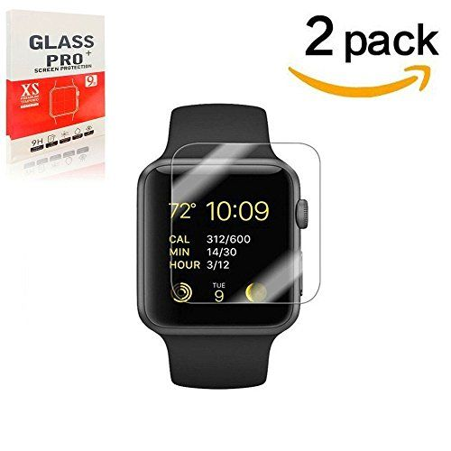 38mm Apple Watch Screen protector for Series 1 2 & 3 WANGCL Premium Anti-Scratch Tempered Glass Screen protector [2PACK] [Only Covers the Flat Area]