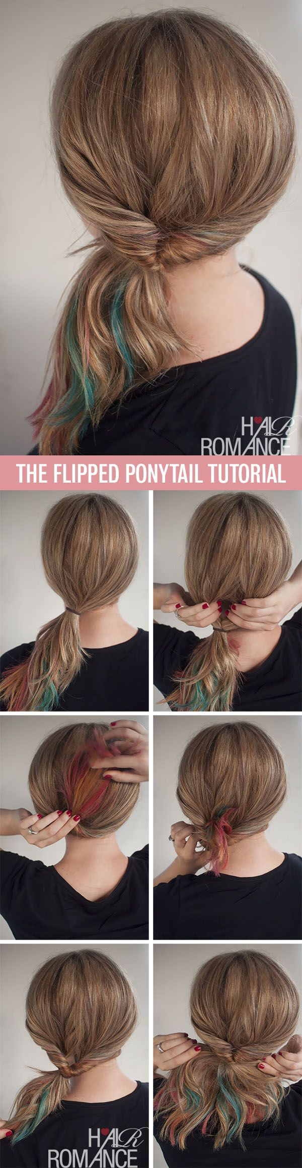 Hair Romance - 1 minute flipped ponytail tutorial