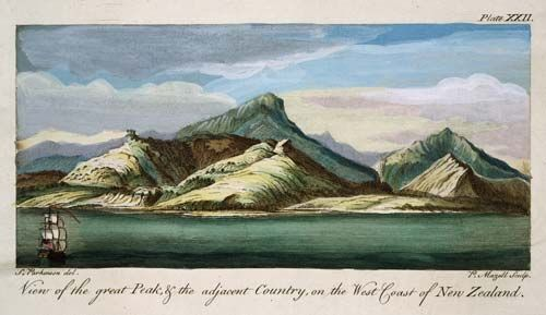 Sydney Parkinson sketched this view of the land around Mt Taranaki (Mt Egmont) in 1769, while accompanying James Cook on his first visit to New Zealand.