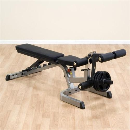 The Body-Solid Heavy Duty Flat Incline Decline Bench is a great bench because not only can you can adjust it, you can add on a leg developer attachment or an arm curl station to work the whole body!