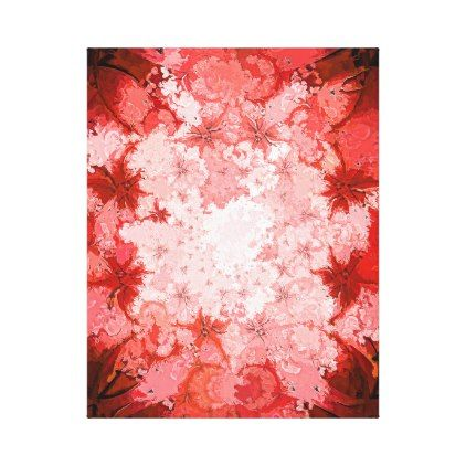 Colorful Red Kaleidoscope Abstract Fractal Pattern Canvas Print - diy cyo customize gift idea personalize