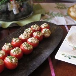 *** Tuna-Stuffed Tomatoes recipe- Very good! i doubled it and used larger heirloom tomatoes  and ate two for dinner in place of a tuna sandwich for less carbs.
