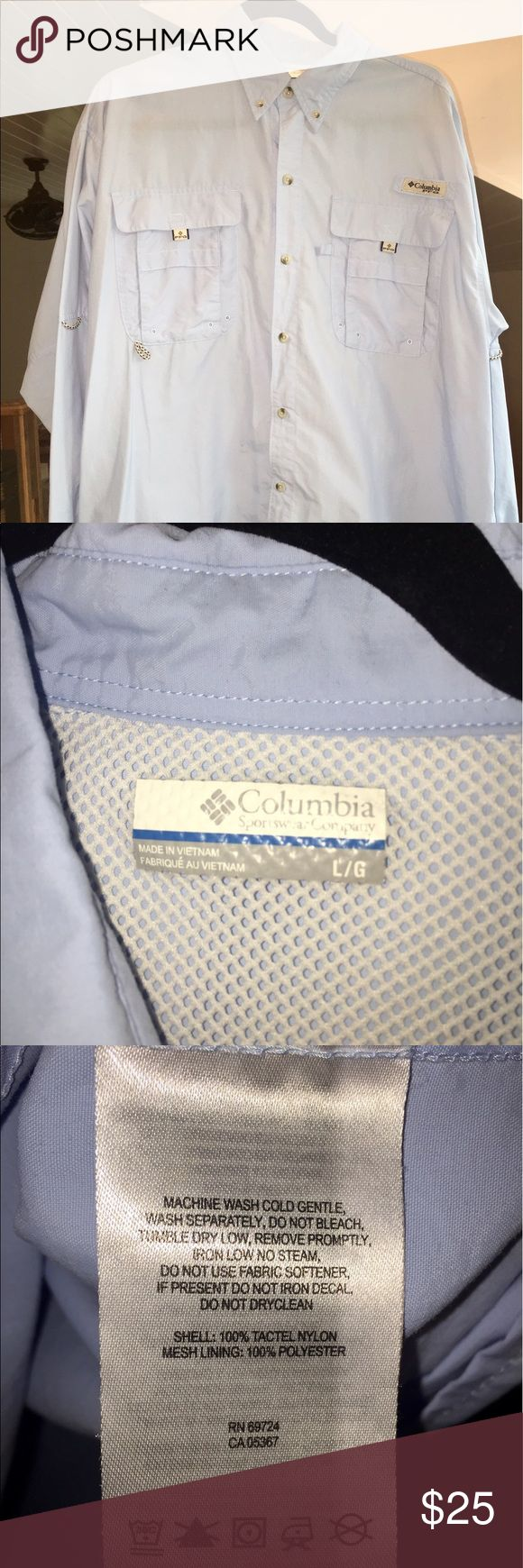 Men's Columbia PFG Shirt Sail Blue ~ Size Large ~ neck: 17-17.5in. ~ Sleeve Length: 35in. ~ Chest: 42-45in. ~ Waist: 36-39in. ~ Hips: 41-43in. ~ originally $48 ~ Gently Used Columbia Shirts Casual Button Down Shirts