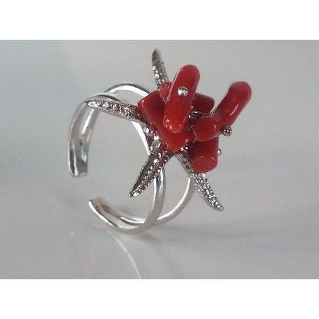 anello stella marina argento 925 rodiato, corallo rosso naturale