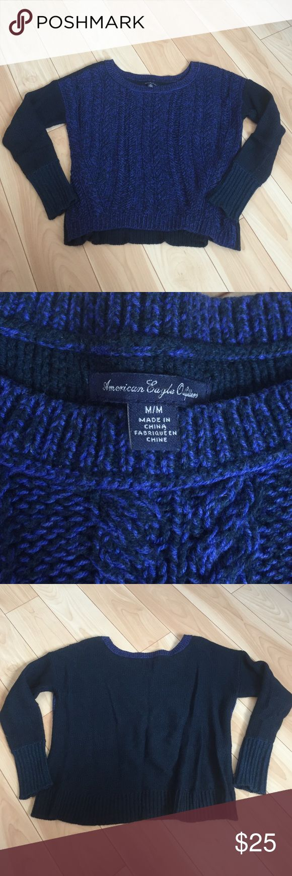 American Eagle size M knit sweater ❄️ Gently used and still in excellent condition. Blue knit sweater from American eagle size medium. American Eagle Outfitters Sweaters Crew & Scoop Necks