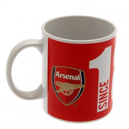 Ceramic Arsenal FC mug in club colours with the club crest and the year in which the club was founded. FREE DELIVERY on all of our gifts