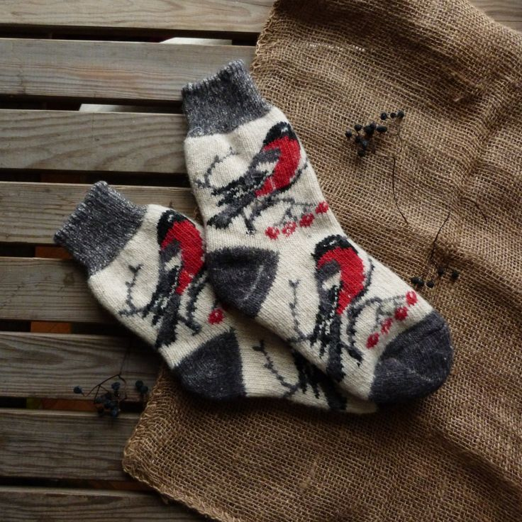 Wool warm socks with birds ornament for woman by 2woolhearts on Etsy