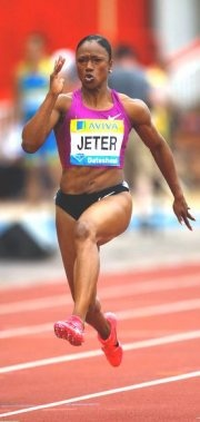 Carmelita Jeter Specialty: Track and Field. Jeter won the 100m race at the Olympic trials, running it in 10.92 seconds. She beat Marion Jones' 100m record in 2009, making her the second fastest woman ever.