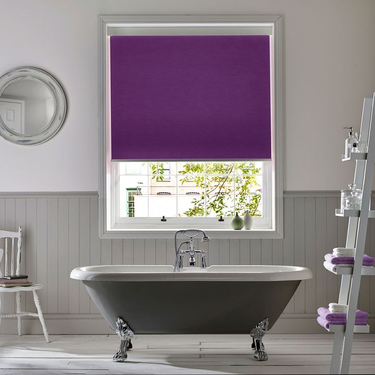 Polaris Violet roller blind from Style Studio. Purple blinds. Roller blinds. Bathroom blinds. 2018 home interior trends. Intense colour inspired home decor. Contemporary purple colour inspiration for the home. Ultra Violet. Colour pop. Neon Jungle.