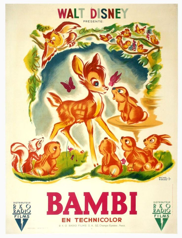 vintage Bambi poster - My first Disney movie as a child, no fairytale princess for me:)