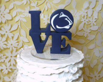 LOVE wedding cake topper with Nittany Lion logo