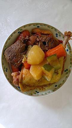 La meilleure recette de Couscous Royal Façon Nanou! L'essayer, c'est l'adopter! 5.0/5 (1 vote), 2 Commentaires. Ingrédients: 4 Colliers d'Agneau 4 Merguez de Viande Bœuf et Agneau 4 Cuisses de Poulet Fermier 400 gr de Viande de Bœuf coupée en gros cube (viande à Bourguignon) 2 Courgettes 2 Navets 2 Carottes 4 Grosses Pommes-de-Terre spéciales plat à mijoter Variété «Gourmandine» à chair ferme 2 Petits Oignons 1 Gousse d'Ail 400 gr de Pulpe de Tomate en Dés (ou 4 Grosses Tomates Fraîches à…