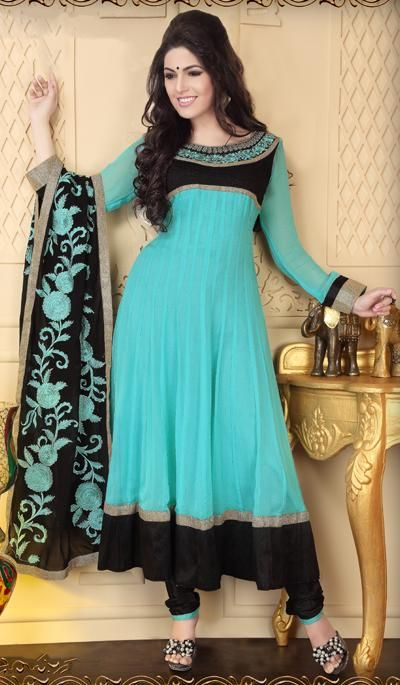 G3 Fashions Aqua black georgette embroidered designer salwar suit  Product Code : G3-LSA106655 Price : INR RS 6488