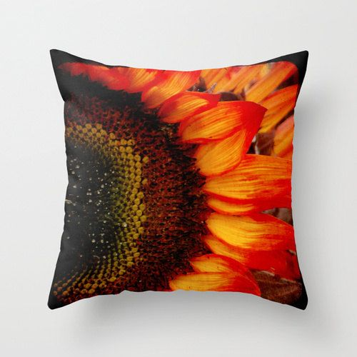 Pillow Cover, Sunflower Pillow, Bright Yellow Orange Throw Pillow, Sunflower Photo Pillow ...