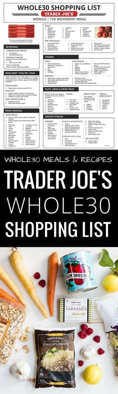 Best Trader Joe's Whole30 Shopping List. Complete with tips and tricks on how to prep for and succeed during your Whole30. Eat like a whole30 QUEEN! Free shopping list