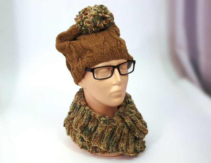 Knitted Hats – GINGER BEANIE SET SCARF & HAT knitted cables  – a unique product by betulek on DaWanda