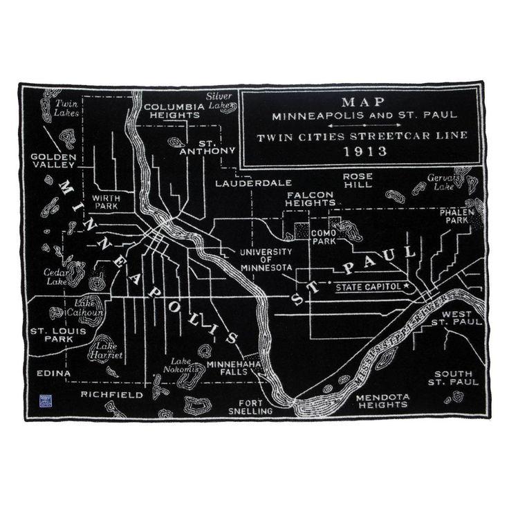 Vintage City Map Wool Throw - Twin Cities Streetcar Line