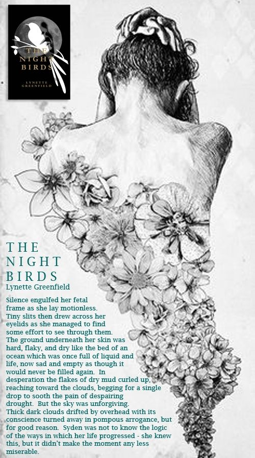 The Night Birds - A romantic, mystery novel.  Would you know if you were going insane? This is what Syden, a young girl living in a small town is faced with every day, as she learns how to deal with growing up in a world where loved ones don't always have her best interest at heart. Her visions and dreams begin to dictate her life and ultimately decide her heartbreaking fate.