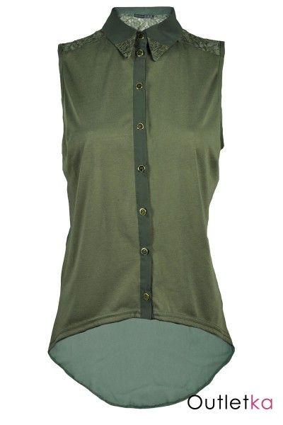 Khaki bluzka, koronka, szyfon