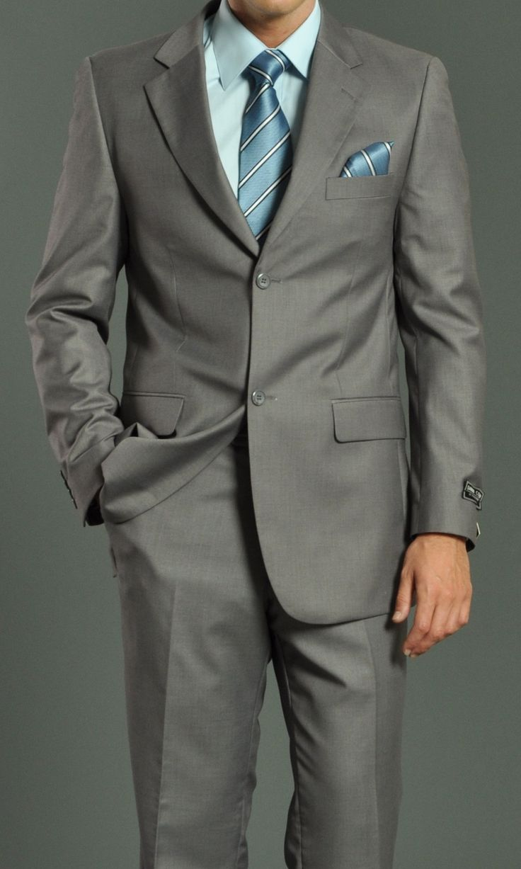 Men's Two Button Light Grey Suit: Men's Suits & Formal Wear | GoSuit.com