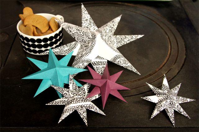 Eri värisiä tähtiä paperista. Joululahjan koristeeksi, tai joulukoristeeksi. Paper stars. Christmasdecorations