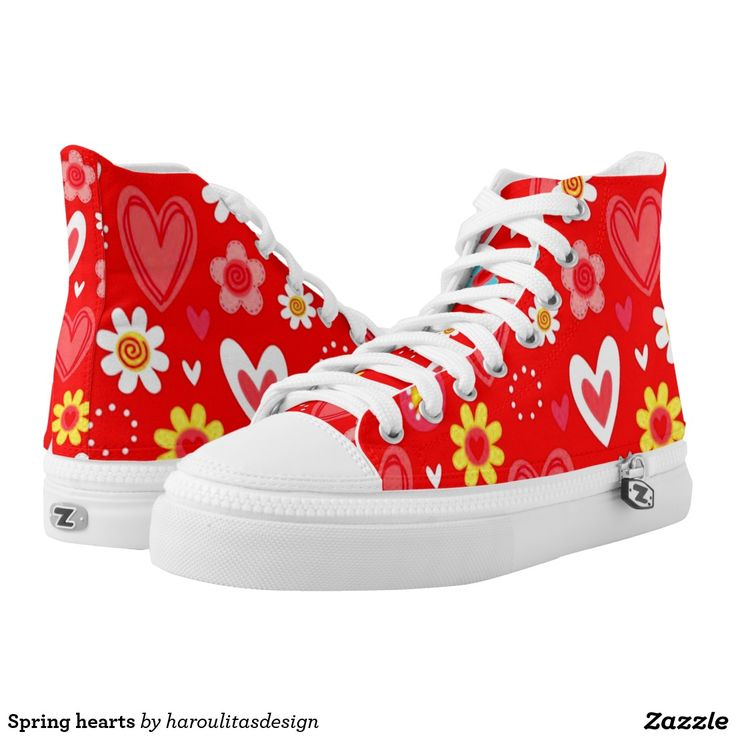 Spring hearts printed shoes