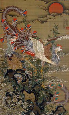 Jakuchu Ito 旭日鳳凰図 Phoenixes and the Rising Sun. 1755. Japanese hanging scroll. 伊藤若冲 旭日鳳凰図