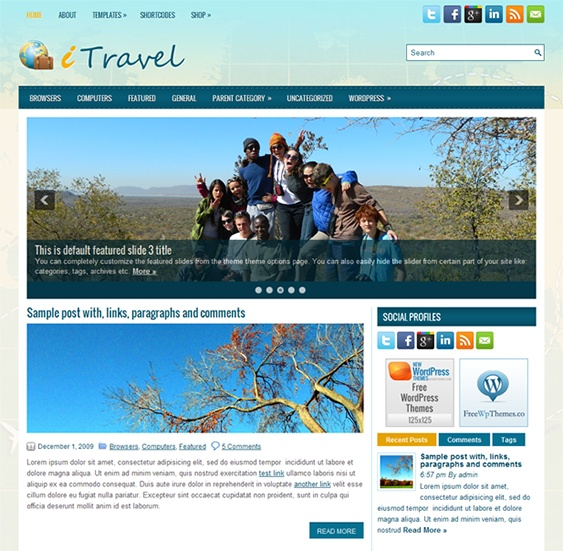 This free WordPress travel theme has a responsive layout, SEO optimised code, cross-browser compatibility, WooCommerce support, a shortcode generator, 4 custom page templates, and more.