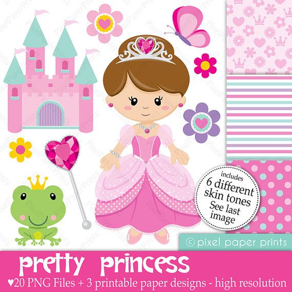 Pretty Princess  Set de Clip Art y Papeles por pixelpaperprints, $5.00