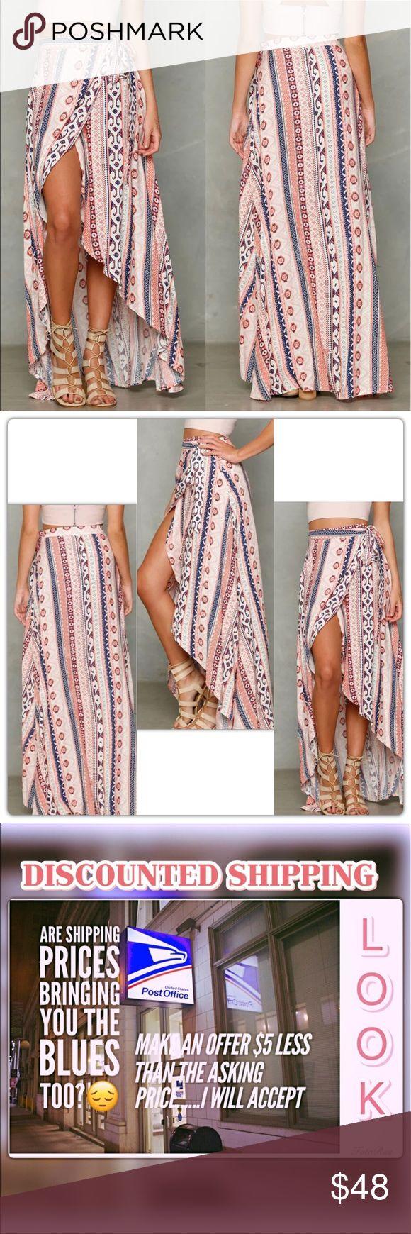 Beautiful Floral Tribal Maxi Skirt Made with chiffon material. Adjustable wrap waist. Skirts Maxi
