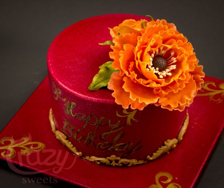 gold / red birthday cake