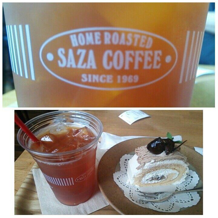 SAZA COFFEE 勝田駅前店@茨城・ひたちなか市    『アイスティーとモンブランケーキ』  目的は『大進』の『焼肉冷やし』。 開店待ち(結局は休みだった(泣))の際に入った。茨城中心の珈琲チェーン店らしい。  珈琲店に入りながらアイスティーを頼む私もどうかな?  2015.08.18