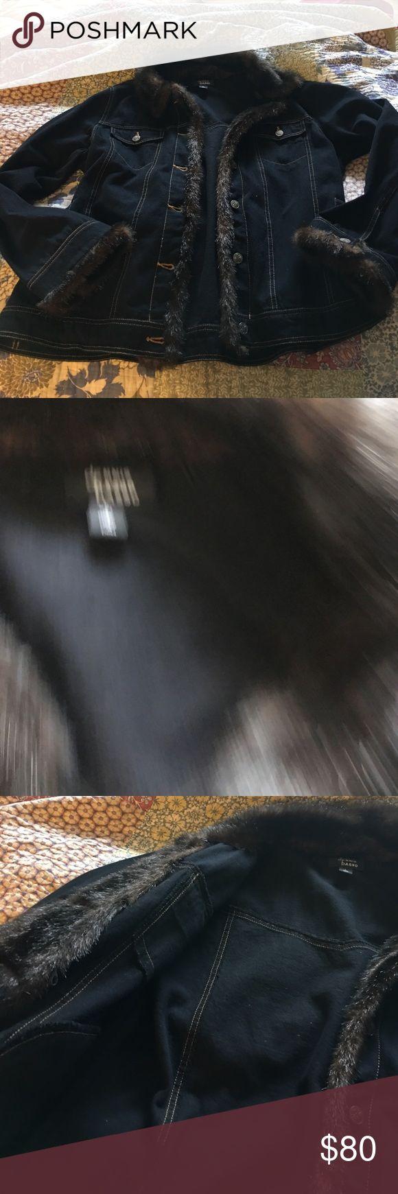 DENNIS BASSO Jean Jacket faux fur trim Beautiful DENNIS BASSO Jean jacket side pockets faux fur trim worn once. Jackets & Coats Jean Jackets